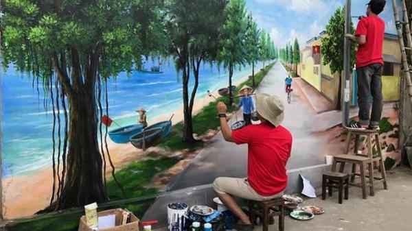 Làng bích họa của Quảng Bình sống động dưới bàn tay của các họa sĩ trẻ