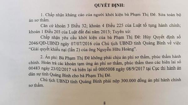 Quảng Bình: Chủ tịch tỉnh thua kiện 1 người dân
