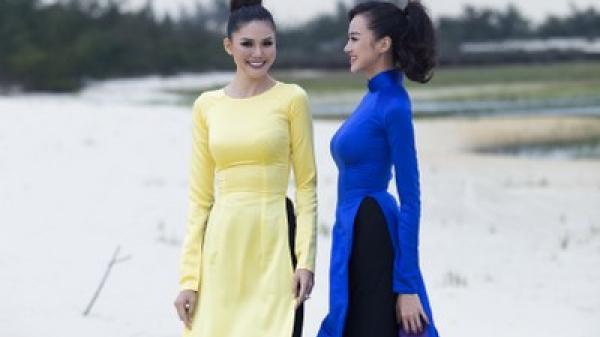 Hoa Hậu Kiều Ngân và Á hậu Kim Nguyên khoe nét xuân thì trong tà áo dài với cảnh sắc Quảng Bình