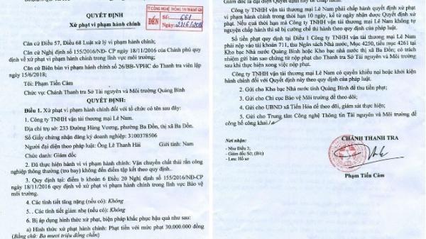 Quảng Bình: Xử phạt doanh nghiệp vận chuyển tro bay không đúng quy định