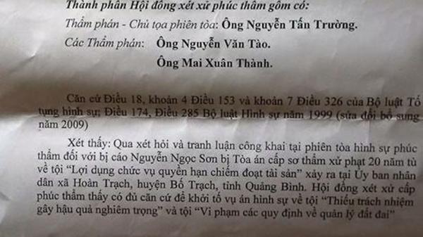 Quyết định kh.ởi tố vụ á.n hình sự liên quan đến vụ án Nguyễn Ngọc Sơn ở xã Hoàn Trạch
