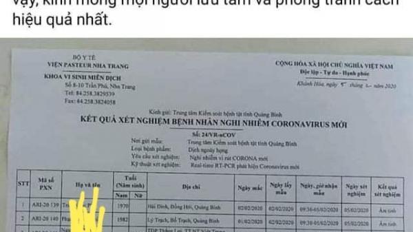 Một fanpage bịa đặt Quảng Bình có 4 người nhiễm nCoV khiến dư luận hoang mang