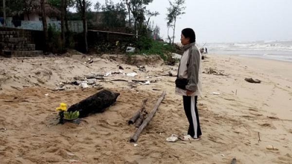 Quảng Bình: Mai táng cá heo nặng 70kg bị chết dạt vào bờ