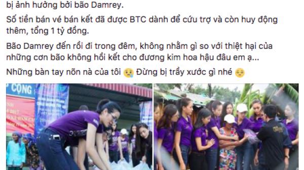 Xuất hiện phát biểu gây sốc so sánh bão số 12 và Hoa hậu Hoàn vũ Việt Nam trên Facebook Á hậu Hoàng My