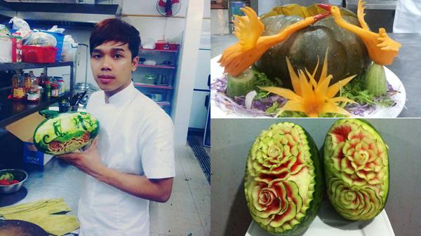 """Chỉ cần """"múa dao"""", chàng trai 9X đất Quảng Ngãi hô biến su hào, cà rốt, bí đỏ... thành rồng, thành phượng"""
