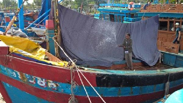 Tắm cho tàu cá nằm bờ