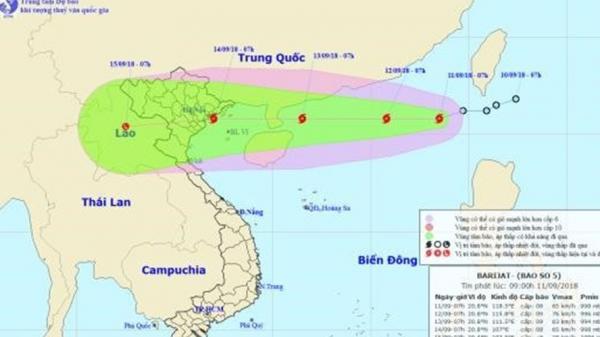 """Cập nhật mới nhất tin bão số 5 Barijat """"chồng"""" siêu bão Mangkhut dồn dập tiến thẳng biển Đông"""