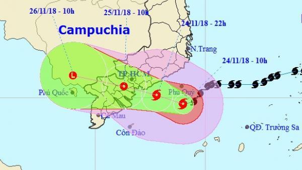 Khuya nay, bão số 9 sẽ đổ bộ từ Bình Thuận đến các tỉnh miền Tây