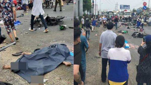 Tai nạn thảm khốc vừa xong: Xe container tông 18 xe máy dừng đèn đỏ, 28 người thương vong