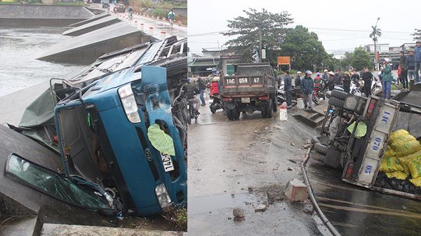 Quảng Ninh: Xe tải tránh xe máy lao xuống rãnh thoát nước, 2 người bị thương