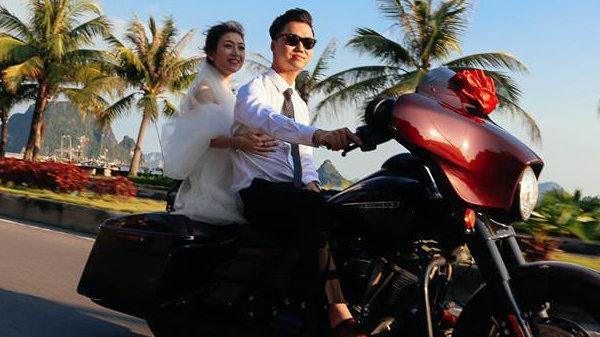 Cộng đồng mạng 'hoa mắt chóng mặt' trước màn rước dâu bằng dàn mô tô khủng tại Hạ Long