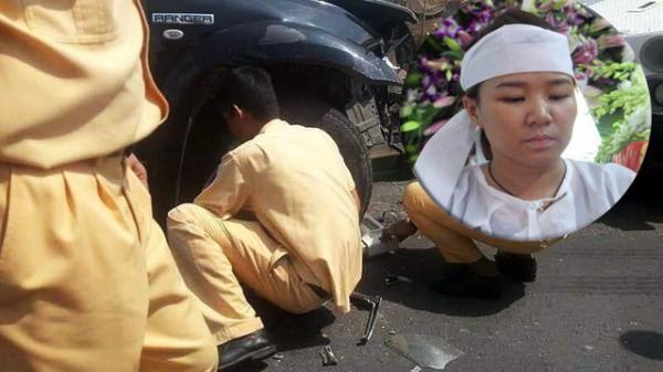 """Nước mắt người vợ trẻ ở đám tang Đại úy CSGT bị lái xe bán tải chèn ngã t.ử v.ong: """"Tôi nói dối con là ba đang ngủ"""""""