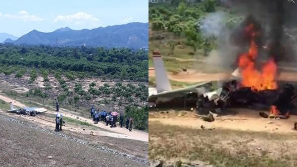 Cận cảnh hiện trường vụ máy bay quân sự rơi khiến 2 phi công t.ử n.ạn