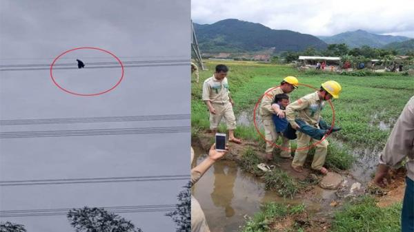 Lạnh người giải cứu nam thanh niên vắt vẻo trên dây điện cao thế 500KV