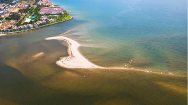 Cồn cát hình cá ngựa mới nổi trên biển ở Hội An