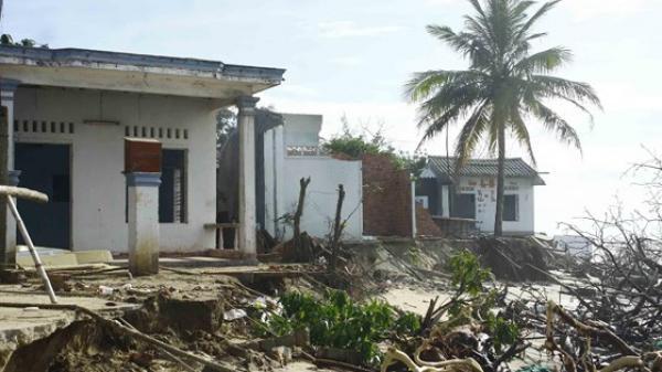 Quảng Ngãi: Hàng chục nhà dân bị sóng biển đ.ánh sập