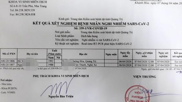 Quảng Trị: 2 trường hợp trở về từ Lào cho kết quả â,m tính với SARS-CoV-2