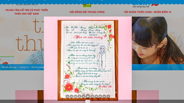 Học sinh Trường Trưng Vương đoạt giải cuộc thi viết chữ đẹp