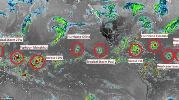 """NÓNG: 9 cơn bão xuất hiện cùng lúc, chuyên gia cảnh báo điểm """"bất thường"""""""