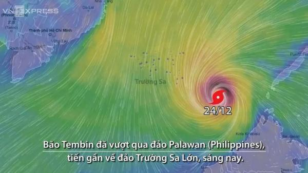 Đường đi của bão Tembin với sức gió hơn 100 km/h