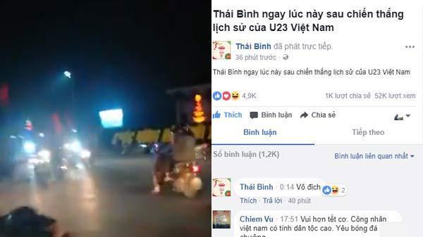 Người dân Thái Bình xuống phố, hò reo chúc mừng chiến thắng lịch sử của U23 Việt Nam