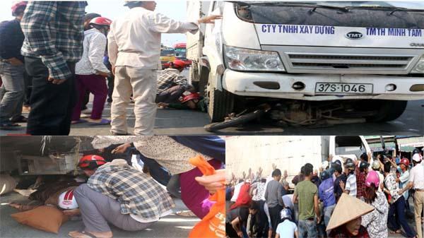 Clip: Tai nạn kinh hoàng trên QL1A 2 người bị xe tải cuốn vào gầm, kéo lê gần 15m, hàng chục người dân nhấc xe tải để giải cứu nạn nhân