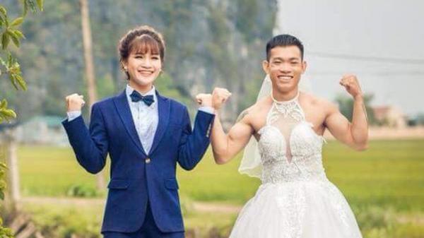 Chùm ảnh cưới chất: Khi chú rể cơ bắp nhưng cứ thích mặc thử váy cô dâu xem cảm giác ra làm sao