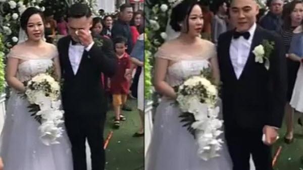 Cô dâu cười tươi ở đám cưới, chú rể điển trai khóc như mưa vì không tin có vợ
