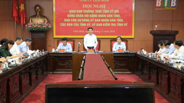 Giao ban Thường trực Tỉnh ủy với Đảng đoàn HĐND tỉnh, Ban Cán sự đảng UBND tỉnh, các ban của Tỉnh ủy, Ủy ban Kiểm tra Tỉnh ủy