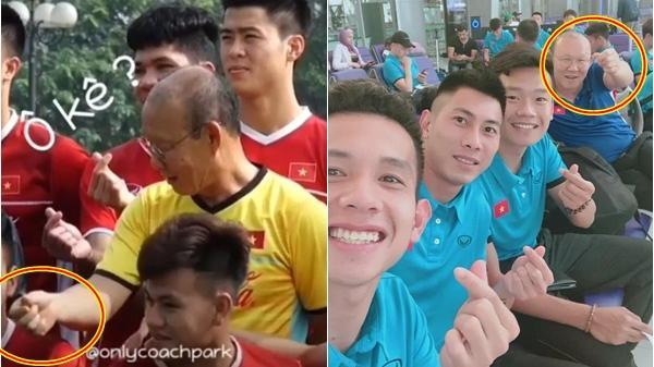 Đáng yêu như HLV Park Hang-seo: Nhí nhố rủ học trò cùng 'bắn tim' để chụp ảnh