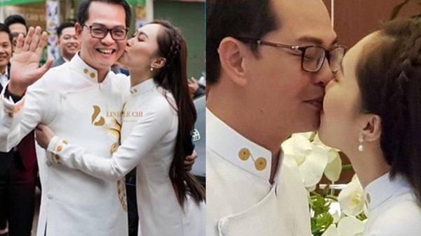 Clip: NSND Trung Hiếu quê Thái Bình được vợ hôn đắm đuối trong ngày cưới