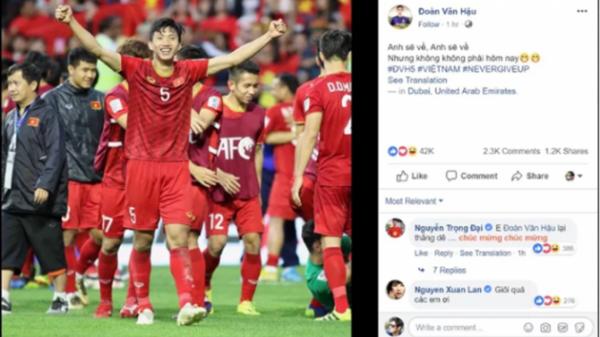 """Văn Lâm, Văn Hậu gửi thông điệp """"đốn tim"""" NHM sau khi đả bại Jordan"""