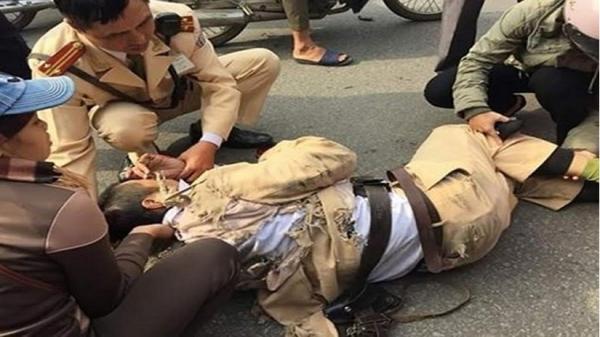 Một thiếu uý CSGT bị thanh niên quê Thái Bình đi xe máy t.ông nh.ập vi.ện