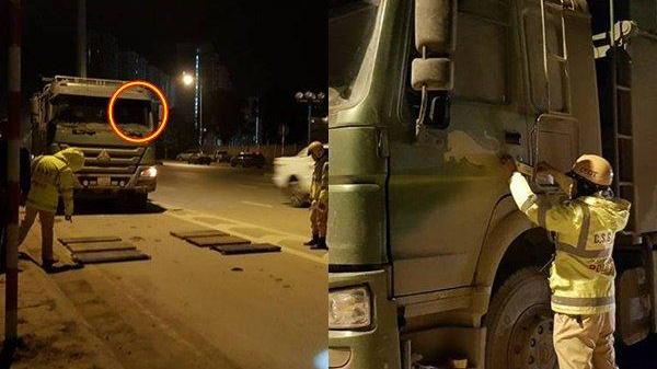 Thi gan với CSGT 5 tiếng, tài xế xe tải bị phạt 16 triệu đồng