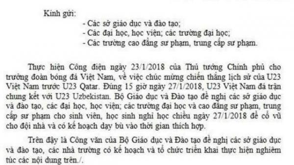 Thực hư thông tin về công văn Bộ Giáo dục cho nghỉ học xem U23 Việt Nam đá trận chung kết