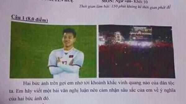 """Màn """"khoanh tay ăn mừng"""" của hậu vệ Văn Thanh vào đề thi học sinh giỏi ở Thái Nguyên"""