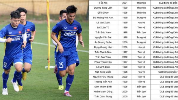CHÍNH THỨC: Danh sách 27 cầu thủ U22 Việt Nam đấu CLB Hàn Quốc