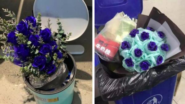 Ảnh buồn: Đến thùng rác cũng có hoa vào ngày Valentine còn đội ế thì không