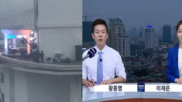 Cộng đồng mạng bất ngờ trước hình ảnh phóng viên Hàn dựng hẳn trường quay trên nóc khách sạn để ghi hình
