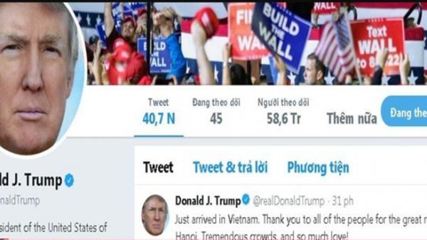 Tổng thống Trump đăng Twitter cảm ơn người dân Việt Nam vì sự đón tiếp nồng hậu