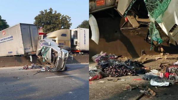 Xe container tông hàng loạt ôtô dừng đèn đỏ, quốc lộ 1A ách tắc nghiêm trọng