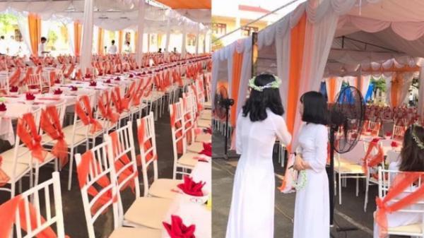 Thái Nguyên: Trường nhà người ta mở hẳn bữa tiệc bày trăm mâm cỗ trong lễ bế giảng cho học sinh ăn uống tưng bừng