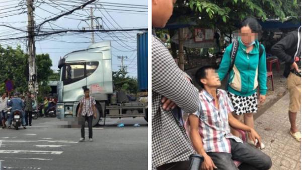 Va chạm với người phụ nữ đi xe đạp, tài xế container thất thần bước xuống, chân tay bủn rủn