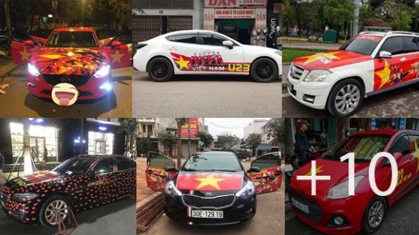 """Ô tô khắp nơi được """"lên đồ"""" chờ ra đường mừng chiến công của U23 Việt Nam"""