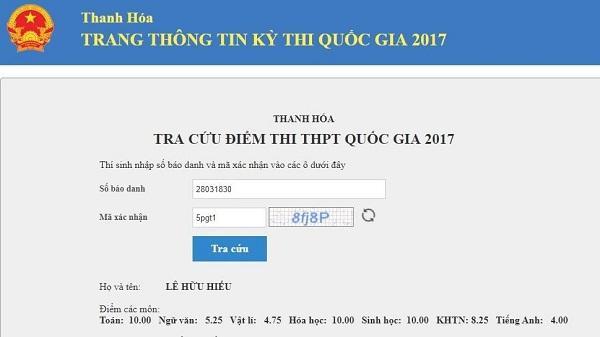 Thanh Hóa có 3 thí sinh đạt 30 điểm thi THPT quốc gia