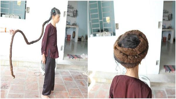 Thanh Hóa: Cụ bà sở hữu mái tóc dài khoảng 3 mét gây xôn xao mạng xã hội