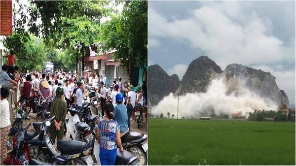 Thanh Hóa: Dân tập trung phản đối công ty nổ mìn khai thác đá