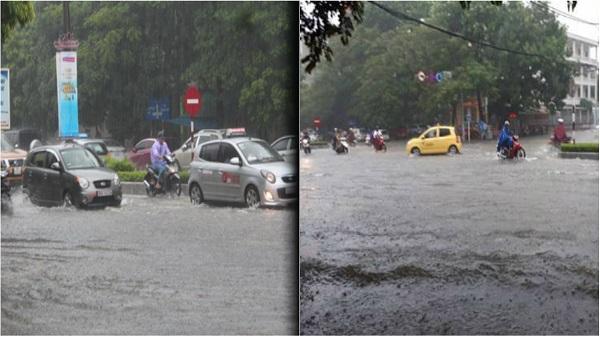 Các tuyến đường TP.Thanh Hóa biến thành sông do mưa lớn