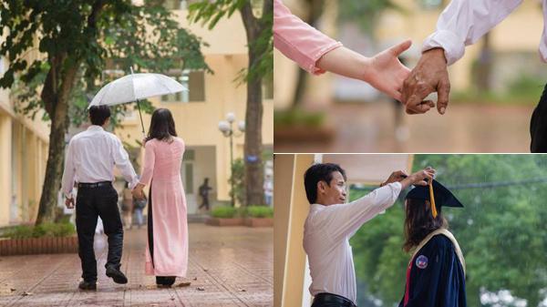 Bắt xe ra Hà Nội từ sáng sớm, người cha Thanh Hóa khiến dân mạng xúc động với bức ảnh nắm tay con gái trong ngày chụp kỷ yếu