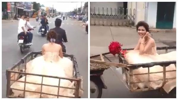 Dân mạng xôn xao trước clip chú rể dùng xe chở hàng để đón dâu ở Đồng Nai